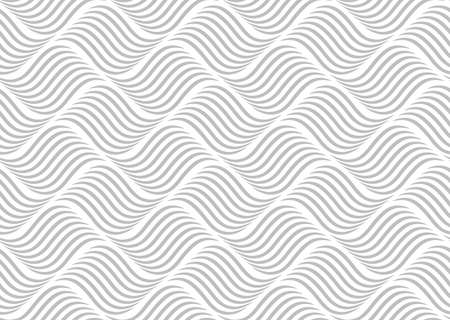 The geometric pattern with wavy lines. Seamless vector background. White and grey texture. Simple lattice graphic design. Ilustracja