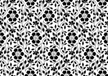 Flower pattern. Seamless white and black ornament. Graphic vector background. Ornament for fabric, wallpaper, packaging