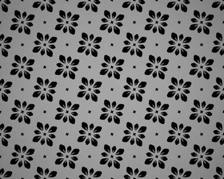 Flower geometric pattern. Seamless vector background. Black and grey ornament Ilustracja