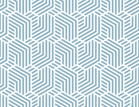 Abstract geometric pattern with stripes, lines. Seamless vector background. White and blue, ornament. Simple lattice graphic design