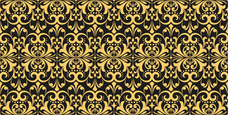 Wallpaper in the style of Baroque. Seamless vector background. Gold and black floral ornament. Graphic pattern for fabric, wallpaper, packaging. Ornate Damask flower ornament Ilustracja