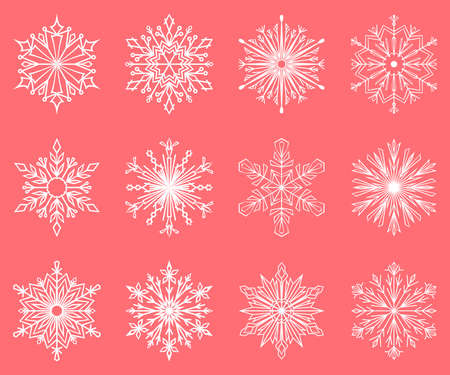 Snowflakes icon collection. Graphic modern pink and white ornament