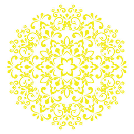 Elegant vector element for design in Eastern style. . Floral yellow circle