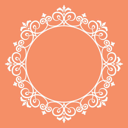 Decorative frame Elegant vector element for design in Eastern style, place for text. Floral pink border. Lace illustration for invitations and greeting cards