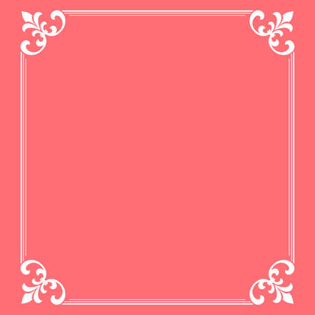 Decorative frame Elegant vector element for design in Eastern style, place for text. Floral pink and white border. Lace illustration for invitations and greeting cards Illustration