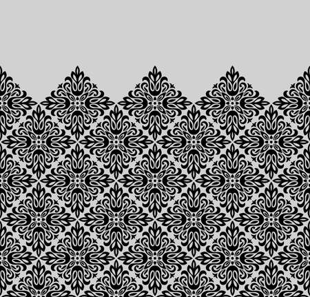 Wallpaper in the style of Baroque. Modern vector background. Black and grey floral ornament. Graphic pattern for fabric, wallpaper, packaging. Ornate Damask flower ornament