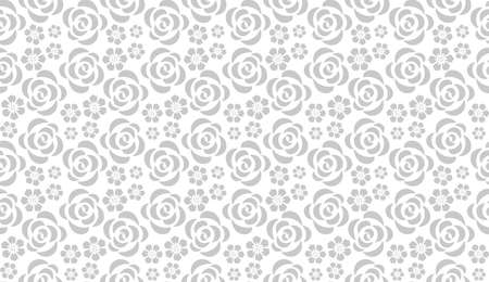 Flower pattern with roses. Seamless white and gray ornament. Graphic vector background. Ornament for fabric, wallpaper, packaging