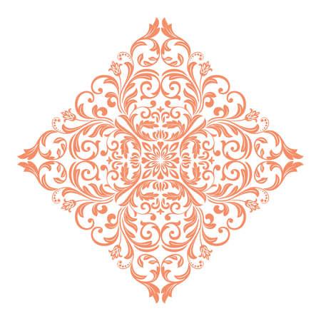 Damask graphic ornament. Floral design element. Pink vector pattern Ilustracja