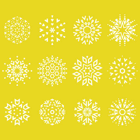 Snowflakes icon collection. Graphic modern white and yellow ornament