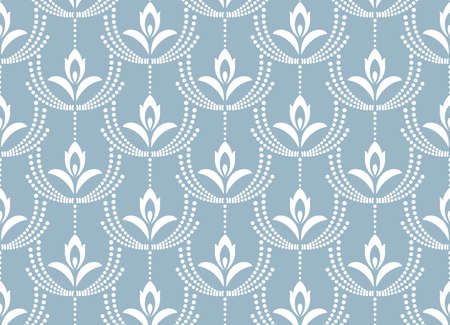 Flower geometric pattern. Seamless vector background. White and blue ornament. Ornament for fabric, wallpaper, packaging. Decorative print
