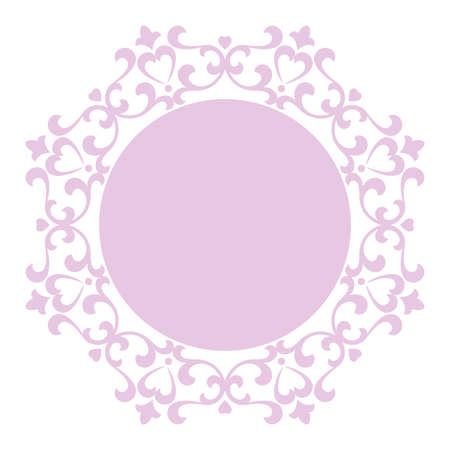 Decorative frame Elegant vector element for design in Eastern style, place for text. Floral purple border. Lace illustration for invitations and greeting cards