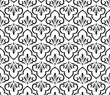 Flower geometric pattern. Seamless vector background. White and black ornament