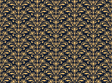 Flower geometric pattern. Seamless vector background. Dark blue and gold ornament. Ornament for fabric, wallpaper, packaging. Decorative print