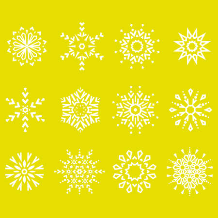 Snowflakes icon collection. Graphic modern yellow ornament 向量圖像