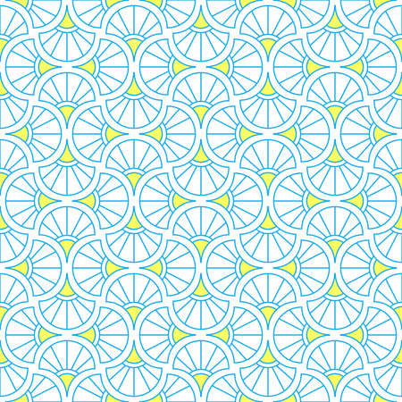 Abstract geometric pattern. A seamless background. Blue and yellow ornament. Graphic modern pattern. Simple lattice graphic design