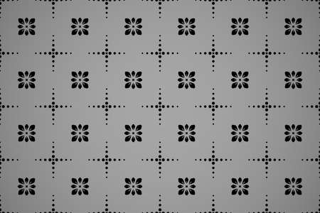 Flower geometric pattern. Seamless background. Black and grey ornament. Ornament for fabric, wallpaper, packaging. Decorative print 向量圖像