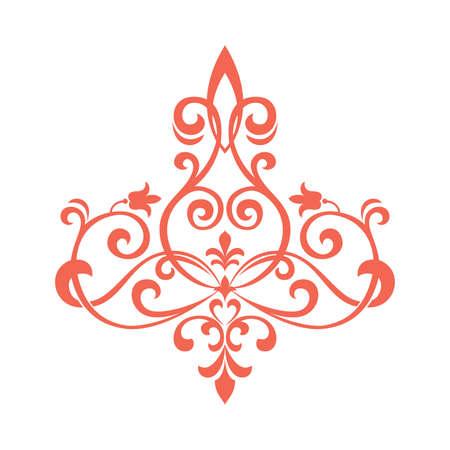 Damask graphic ornament. Floral design element. Pink vector pattern 向量圖像