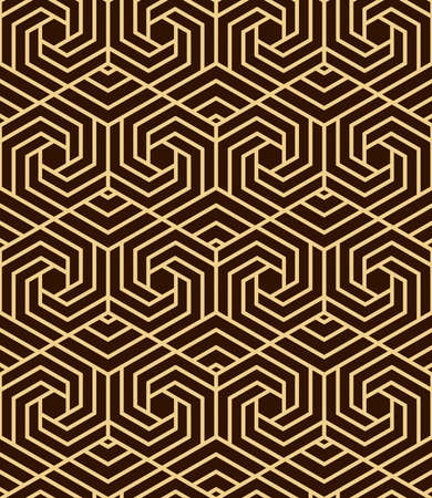 Abstract geometric pattern. A seamless vector background. Dark brown and gold ornament. Graphic modern pattern. Simple lattice graphic design