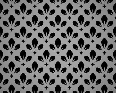 Flower geometric pattern. Seamless vector background. Black and grey ornament 向量圖像