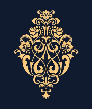 Damask graphic ornament. Floral design element. Dark blue and gold vector pattern 向量圖像