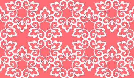 Flower geometric pattern. Seamless vector background. White and pink 向量圖像