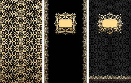 Collection of design elements, labels, frames for packaging and design of luxury products. Gold and black vector pattern,