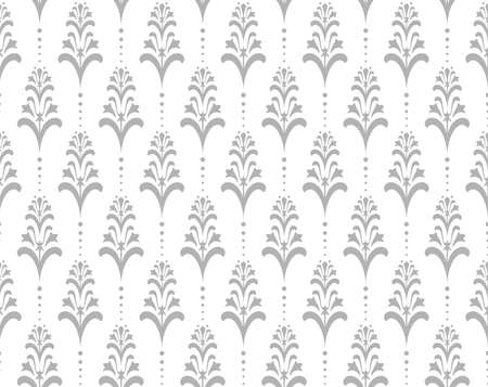 Flower geometric pattern. Seamless vector background. White and grey ornament.