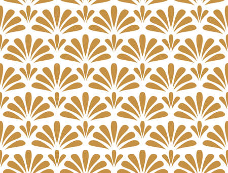 Flower geometric pattern. Seamless background. White and gold ornament