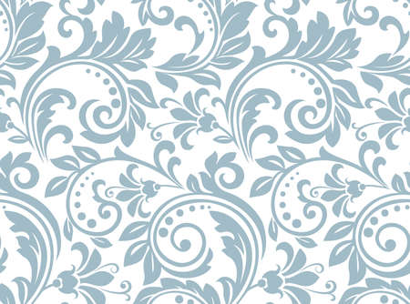 Flower pattern. Seamless white and blue ornament. Graphic background. Ornament for fabric, wallpaper, packaging 版權商用圖片