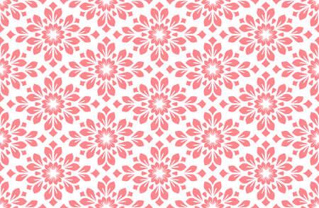 Flower geometric pattern. Seamless background. White and pink ornament 版權商用圖片