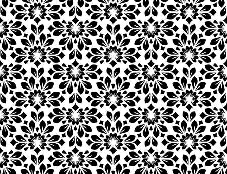 Flower geometric pattern. Seamless background. White and black ornament. Ornament for fabric, wallpaper, packaging. Decorative print 版權商用圖片