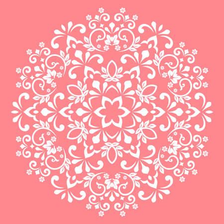 Damask graphic ornament. Floral design element. Pink pattern 版權商用圖片