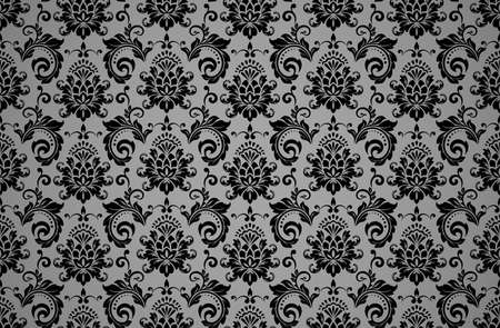 Floral pattern. Vintage wallpaper in the Baroque style. Seamless vector background. Black and grey ornament for fabric, wallpaper, packaging. Ornate Damask flower ornament Foto de archivo - 148941247
