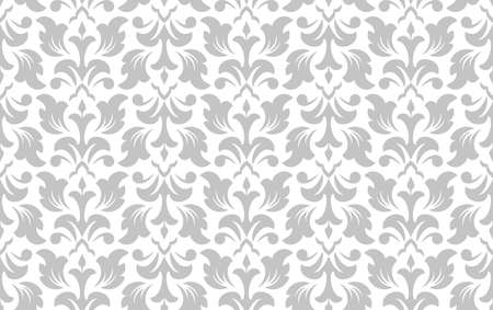 Wallpaper in the style of Baroque. Seamless vector background. White and grey floral ornament. Graphic pattern for fabric, wallpaper, packaging. Ornate Damask flower ornament. Foto de archivo - 148941246