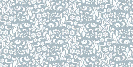Flower pattern. Seamless white and blue ornament. Graphic background. Ornament for fabric, wallpaper, packaging Stock fotó