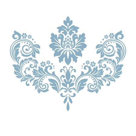 Damask graphic ornament. Floral design element. Blue vector pattern Ilustrace
