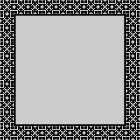 Decorative frame Elegant element for design in Eastern style, place for text. Floral black border.