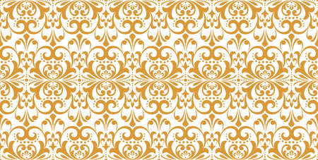 Wallpaper in the style of Baroque. Seamless background. White and gold floral ornament. Graphic pattern for fabric, wallpaper, packaging. Ornate Damask flower ornament 스톡 콘텐츠