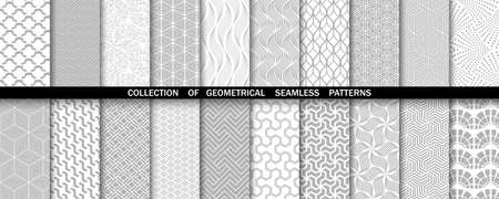 Geometric set of seamless gray and white patterns. Simple vector graphics. 일러스트
