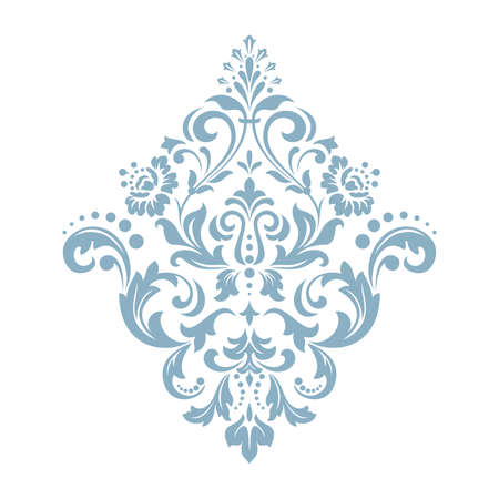 Damask graphic ornament. Floral design element. Blue vector pattern 일러스트