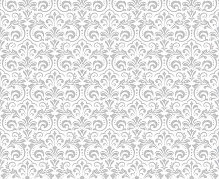 Wallpaper in the style of Baroque. Seamless background. White and grey floral ornament. Graphic pattern for fabric, wallpaper, packaging. Ornate Damask flower ornament. 스톡 콘텐츠