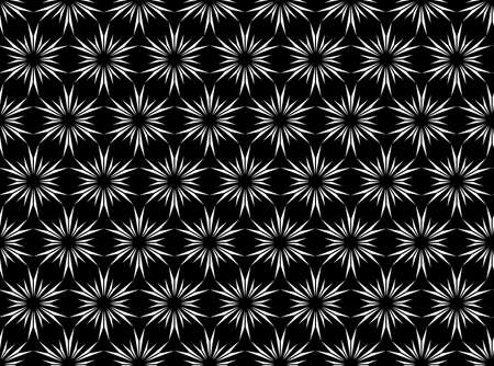 Abstract geometric pattern with lines, snowflakes. A seamless background. White and black texture. Graphic modern pattern. 스톡 콘텐츠