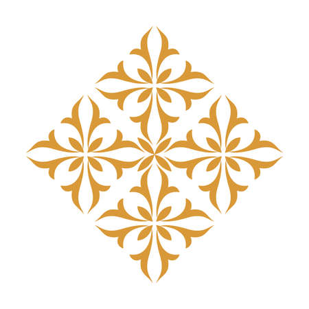 Damask graphic ornament. Floral design element. Gold pattern