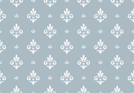 Flower geometric pattern. Seamless background. White and blue ornament