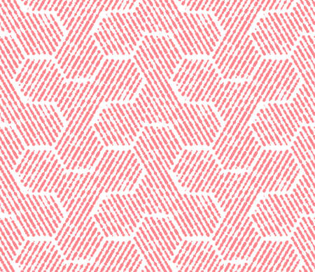 Abstract geometric pattern with stripes, lines. Seamless background. White and pink ornament. Simple lattice graphic design