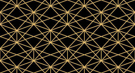 The geometric pattern with lines. Seamless background. Gold and black texture. Graphic modern pattern. Simple lattice graphic design Banco de Imagens