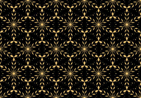 Abstract geometric pattern with lines, snowflakes. A seamless background. Gold and black texture. Graphic modern pattern