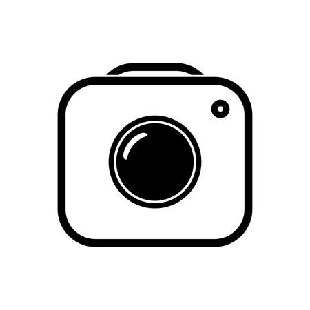 Camera icon. Black graphic symbol. Simple design.
