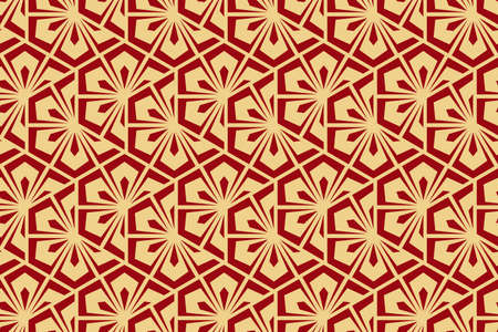 Flower geometric pattern. Seamless background. Gold and red ornament