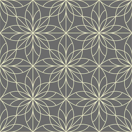 Flower geometric pattern. Seamless background. Grey ornament. Ornament for fabric, wallpaper, packaging. Decorative print